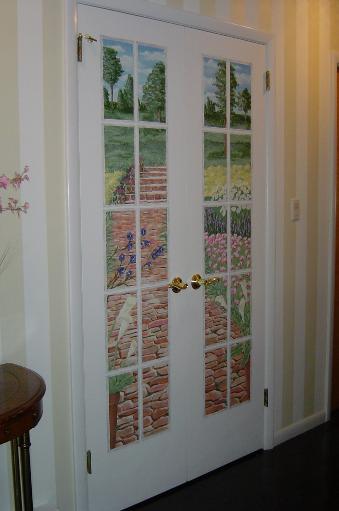 Garden view mural painted on flat double doors.