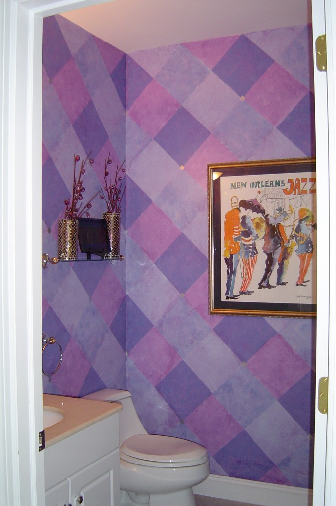 Multi-colored diamond pattern painted and glazed in Powder Room.