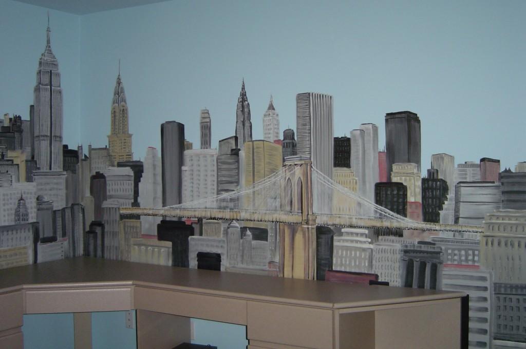 New York Cityscape mural.