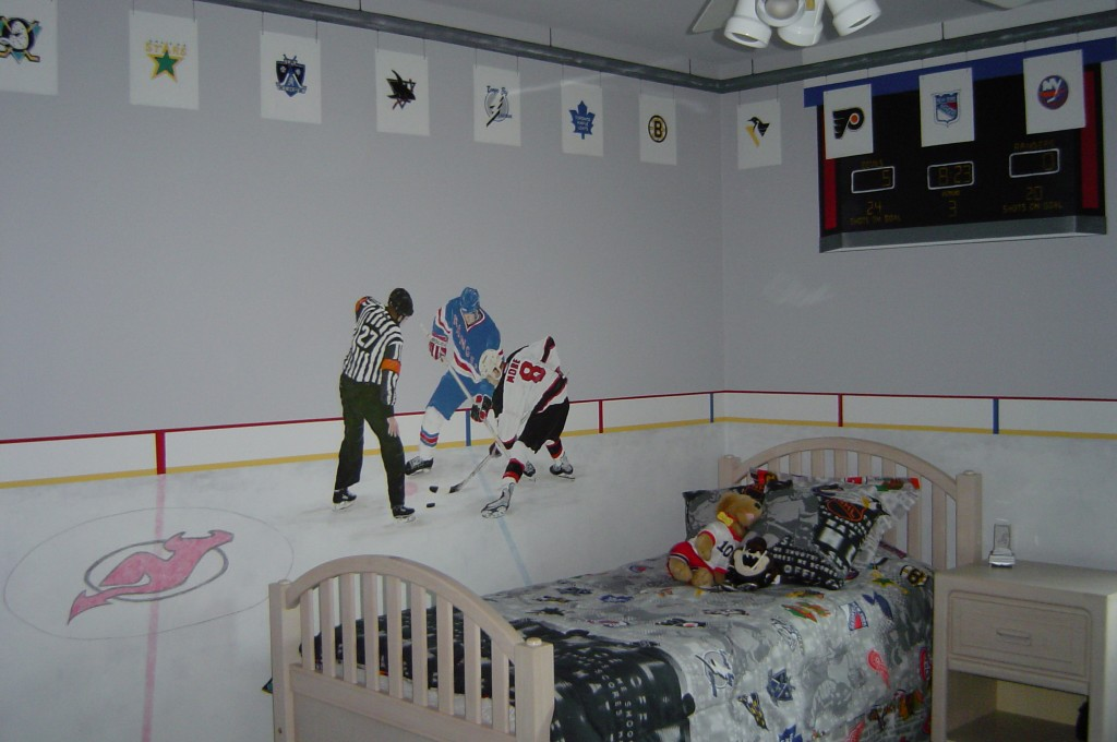 Ice Hockey themed mural.