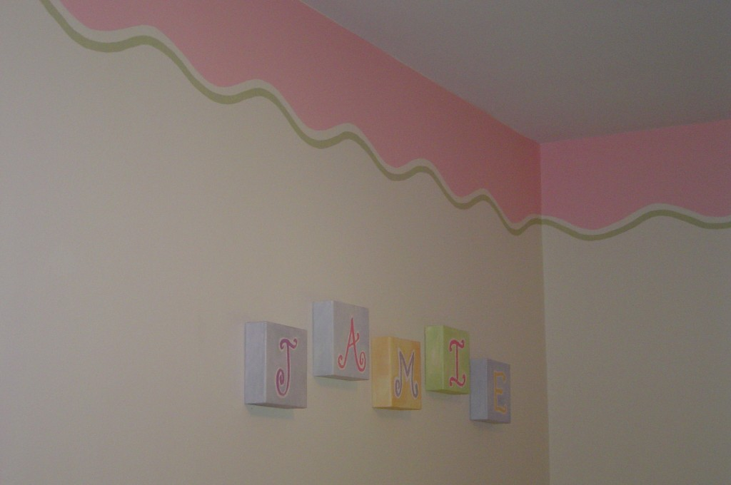 Decorative border painted in a nursery.