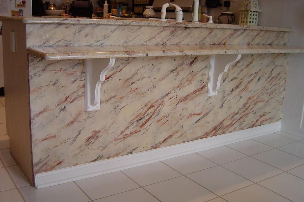 Faux granite painted to replicate actual granite countertops.