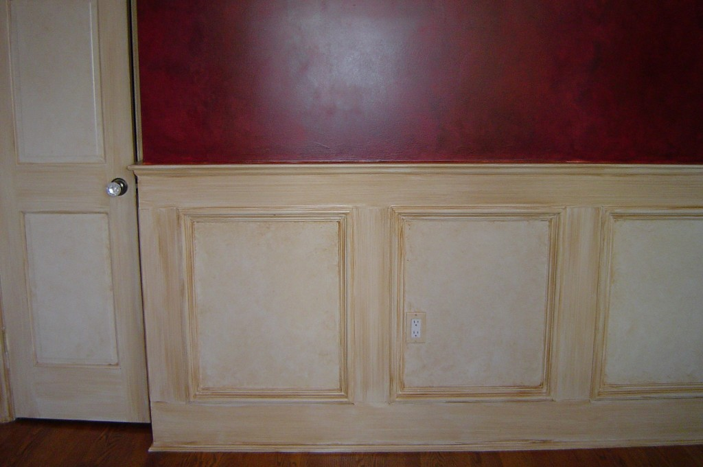"""All wainscot, doors, and trim in this Dining room """"antiqued"""" with a sepia glaze."""