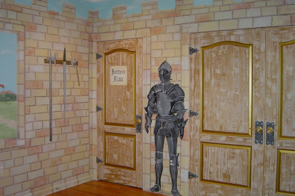 Medieval castle themed mural painted in boy's Bedroom.
