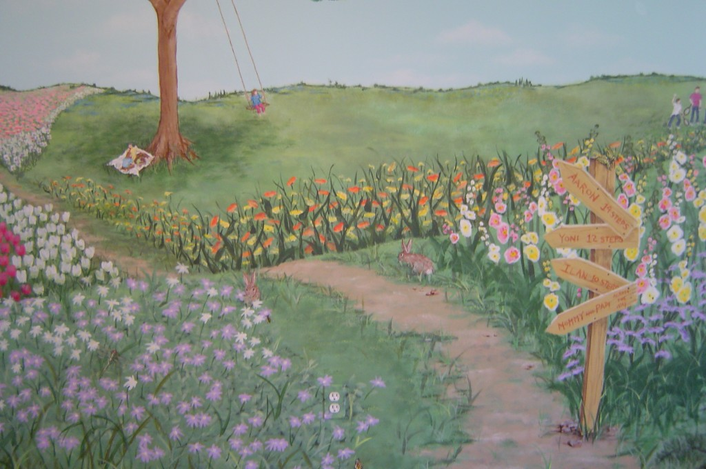 Detail of floral landscape mural painted in girl's Bedroom.