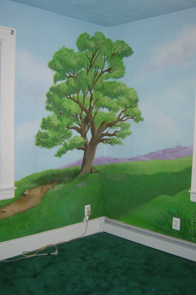Landscape mural painted throughout Bedroom.