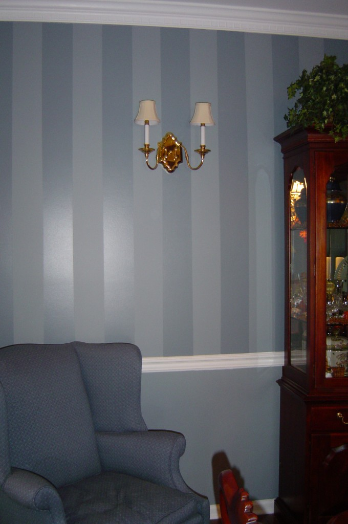 Wedgwood blue shadow stripe painted in Dining room