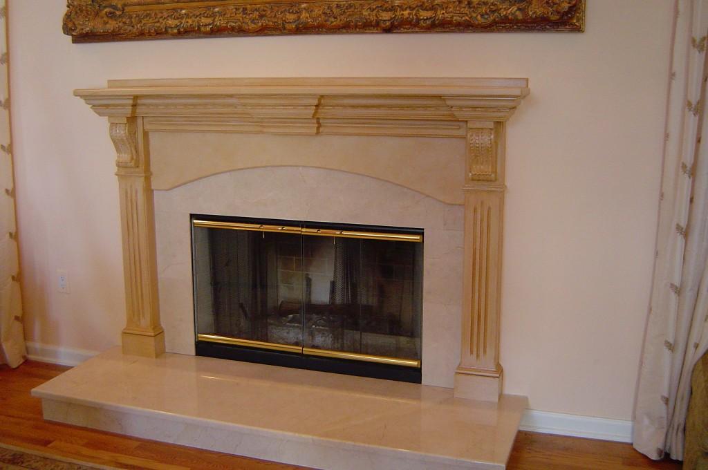Antique glaze finish painted on fireplace mantel.