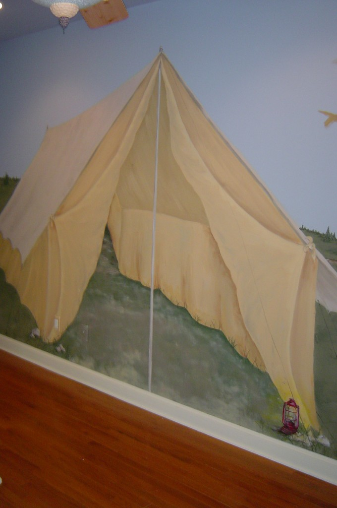 Tent detail from camping themed mural.