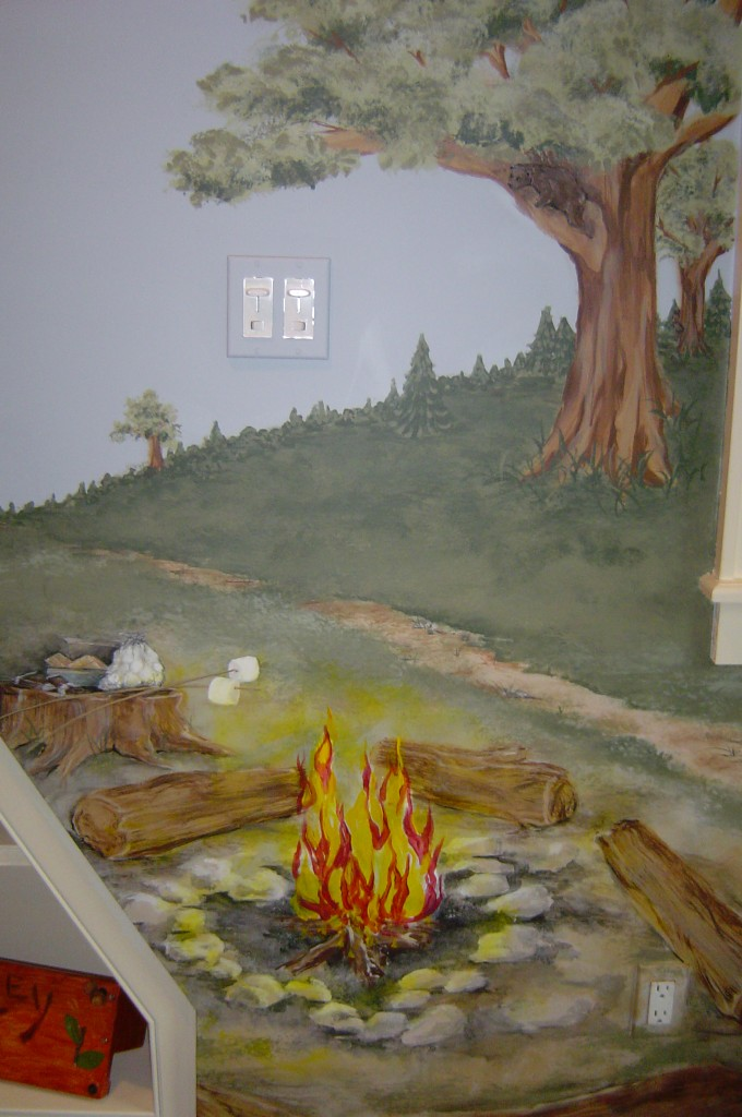 Campfire detail from camping-themed bedroom mural.