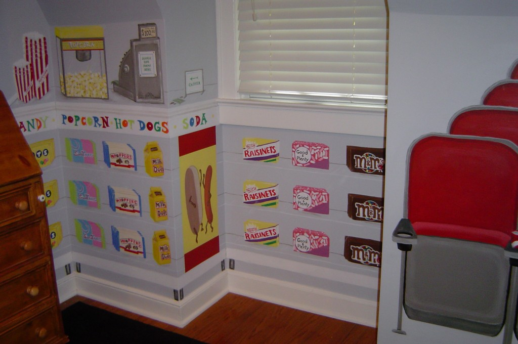 Movie Theater-themed bedroom mural.