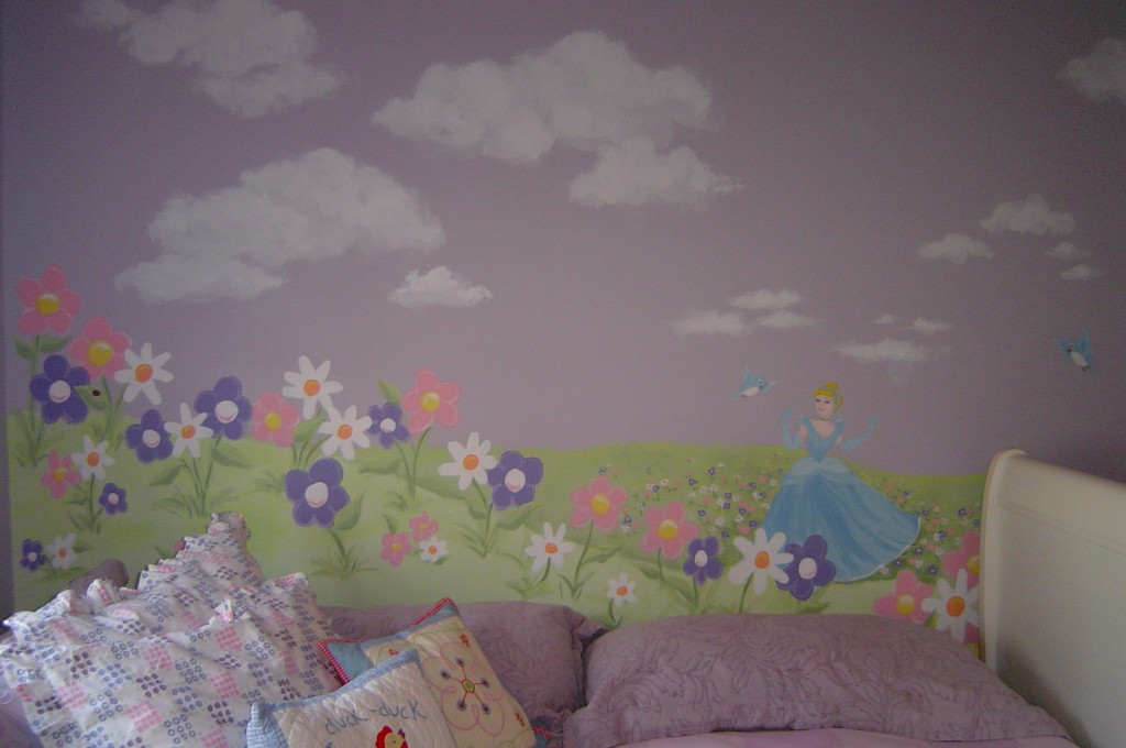 Mural with Cinderella and large flowers.
