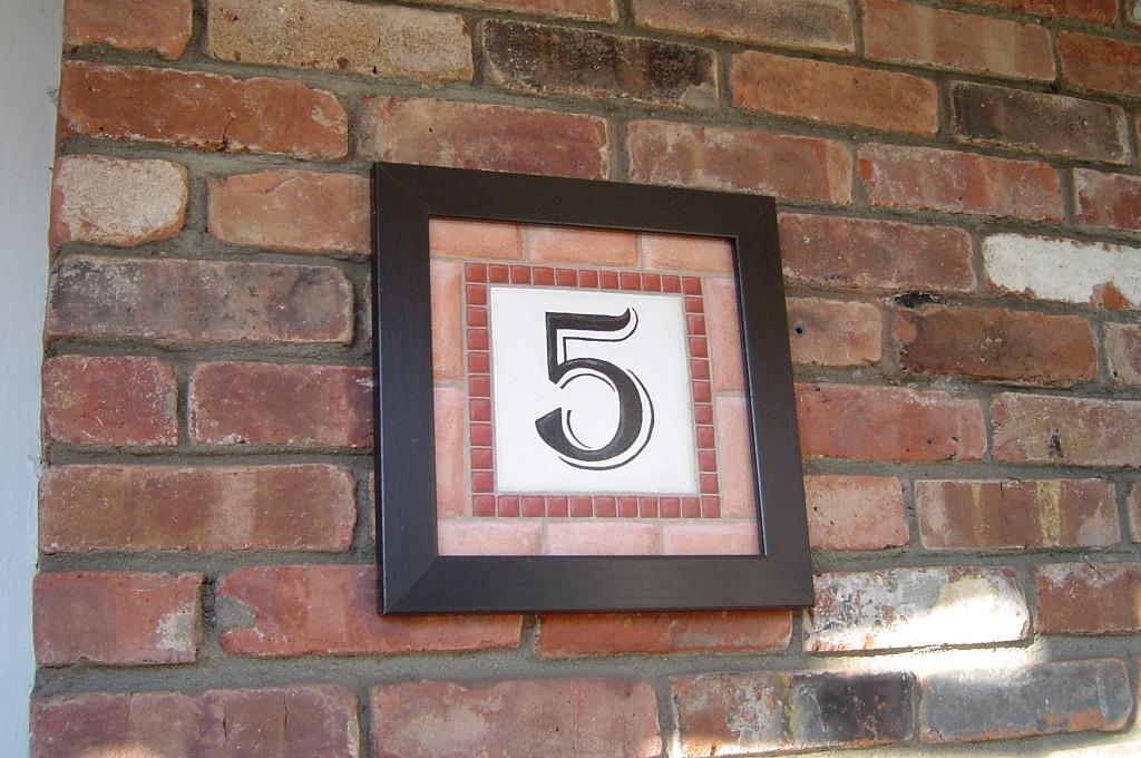 Faux tile address plaque.