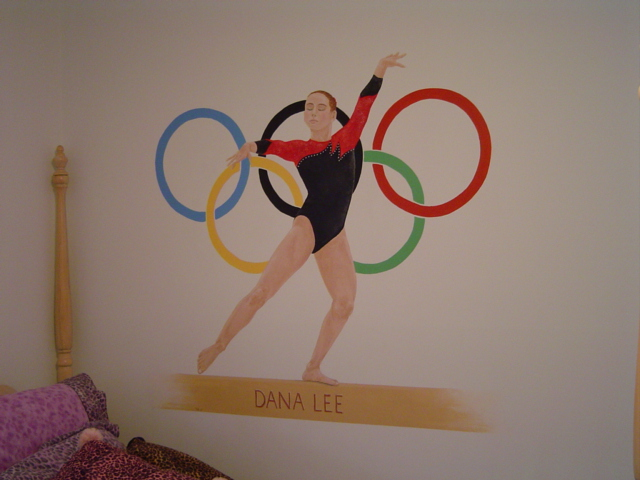 Personalized mural in gymnast's bedroom.