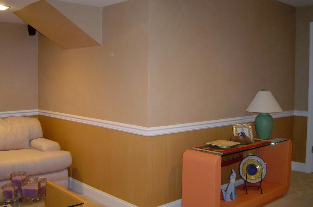 Parchment glaze above chair rail, and striae glaze below chair rail.