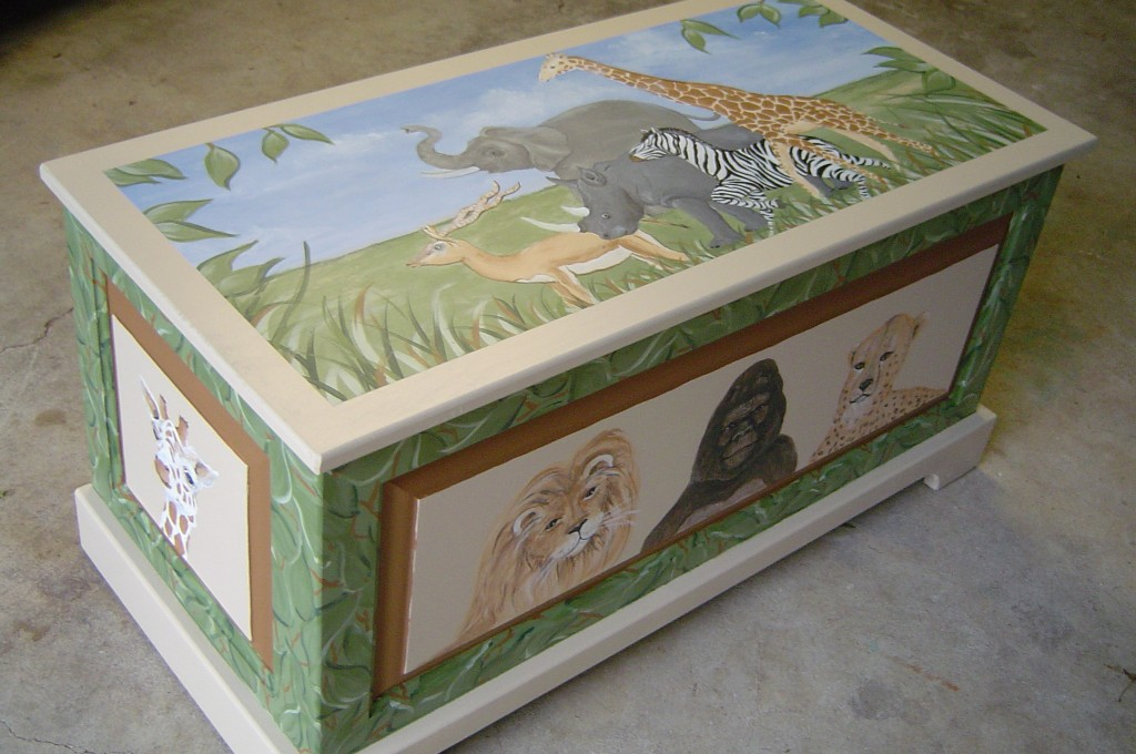 Toybox painted in safari-themed decor