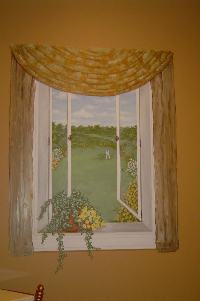 Trompe l'oeil window painted in Powder Room.