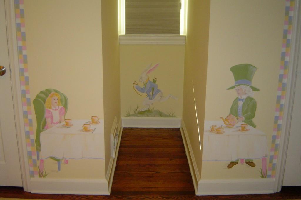 Alice-in-Wonderland themed mural painted in Nursery.