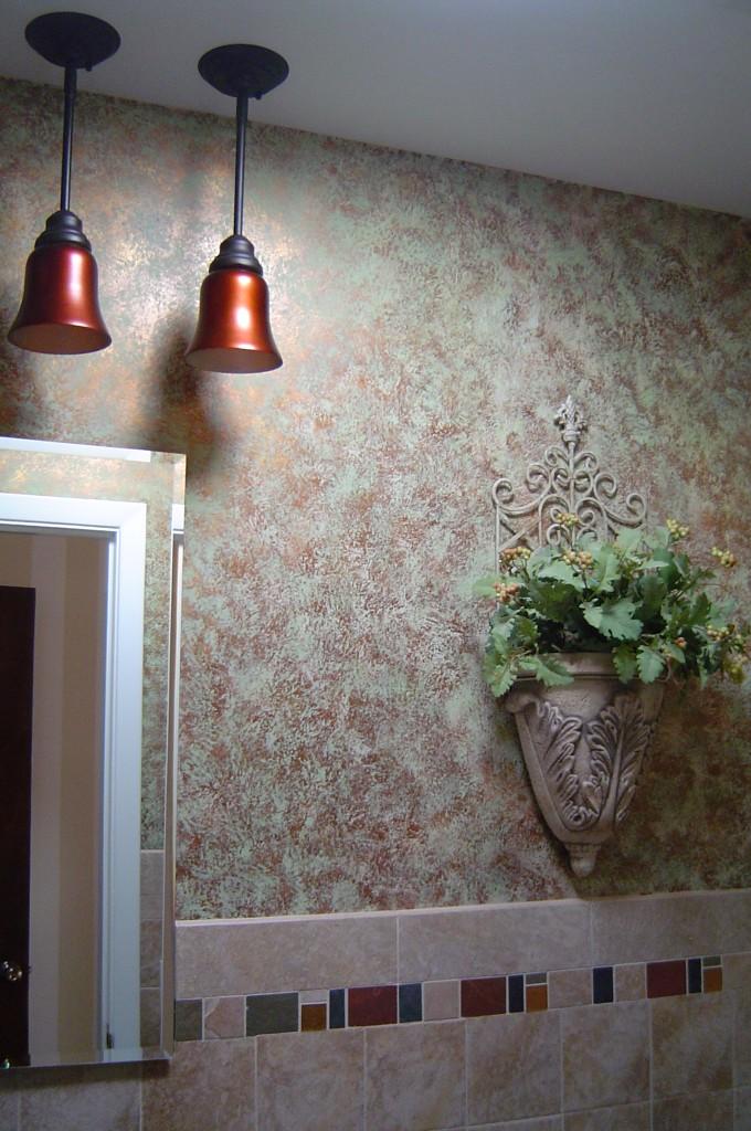Powder Room painted with bronze verdigris finish.