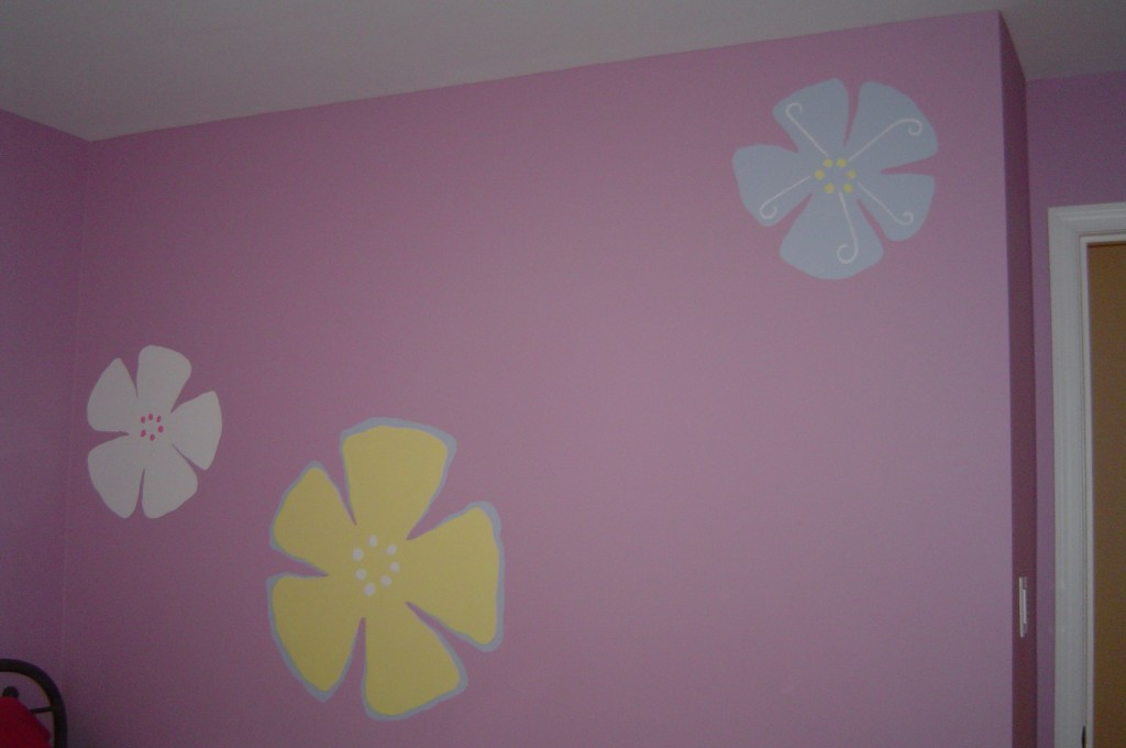 Large contemporary floral motif painted in Bedroom.