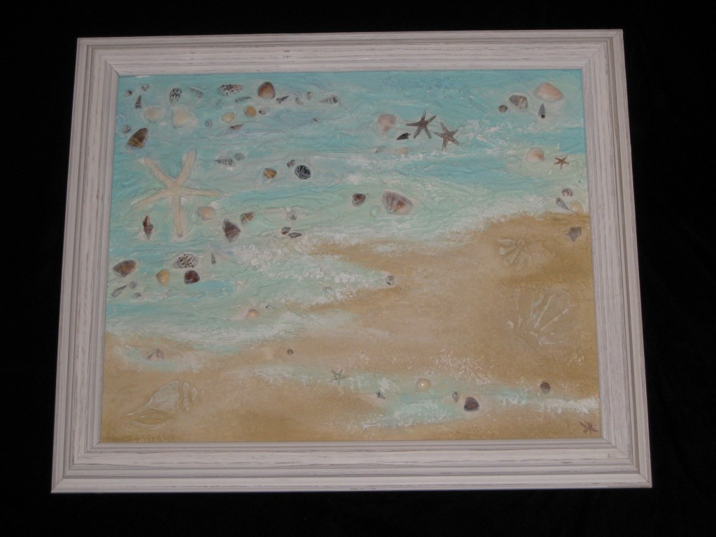 Texture medium used to create dimensional ocean scene with embedded seashells, finished with colored glazes, and framed.