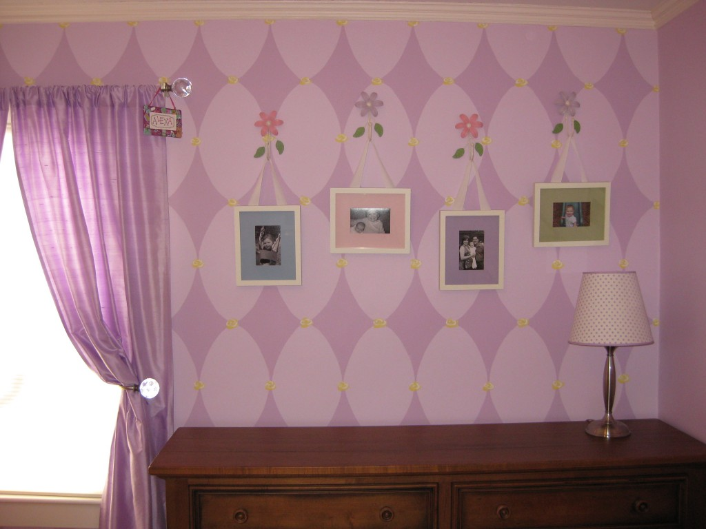 Modified harlequin design in lavender, with yellow rose accents.