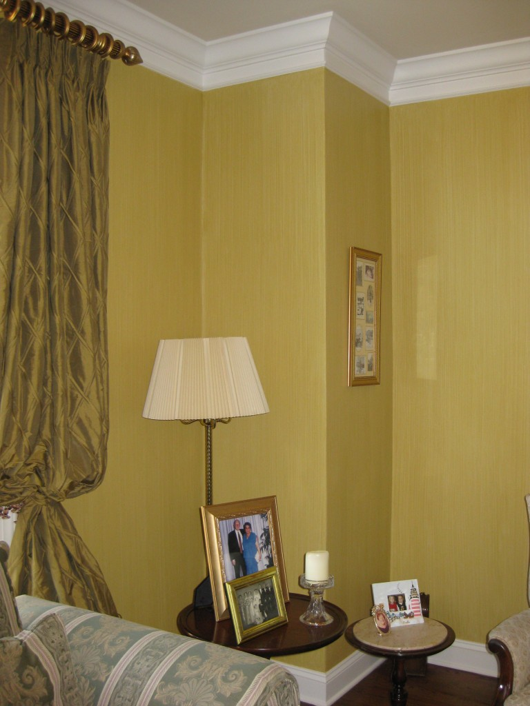 Living Room painted with green-gold striae glaze finish.