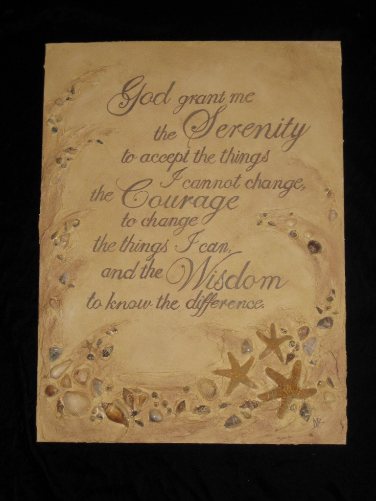 Texture medium used to create dimensional artwork with embedded shells and starfish, hand-painted quote, and sepia glaze finish.