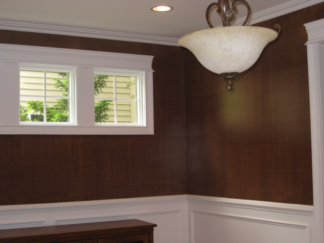 Chocolate brown linen-weave paint finish painted in Dining Room.