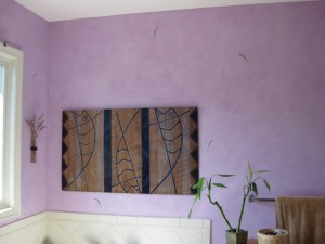 Master Bathroom painted with pale lavender glaze finish and hand-painted lavender sprigs.