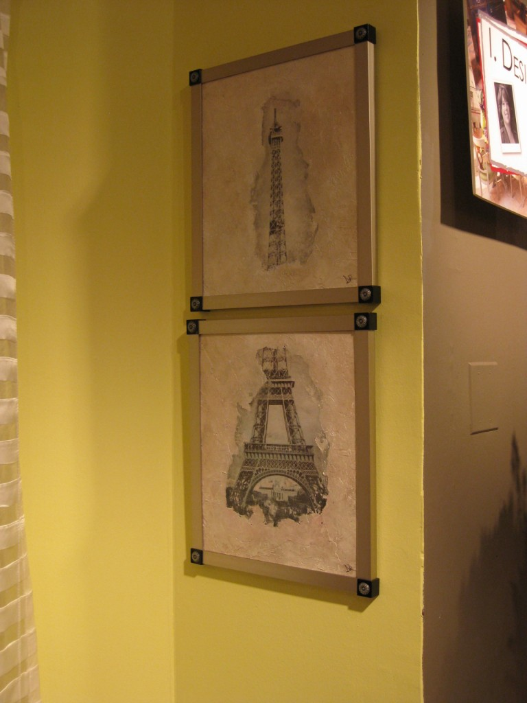 Two-piece Eiffel Tower composition, photo and plaster on canvas with silver glaze
