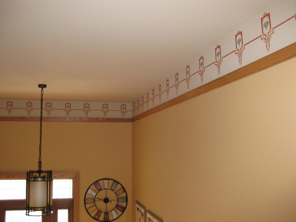 Custom designed craftsman stencil border painted along hallway frieze.