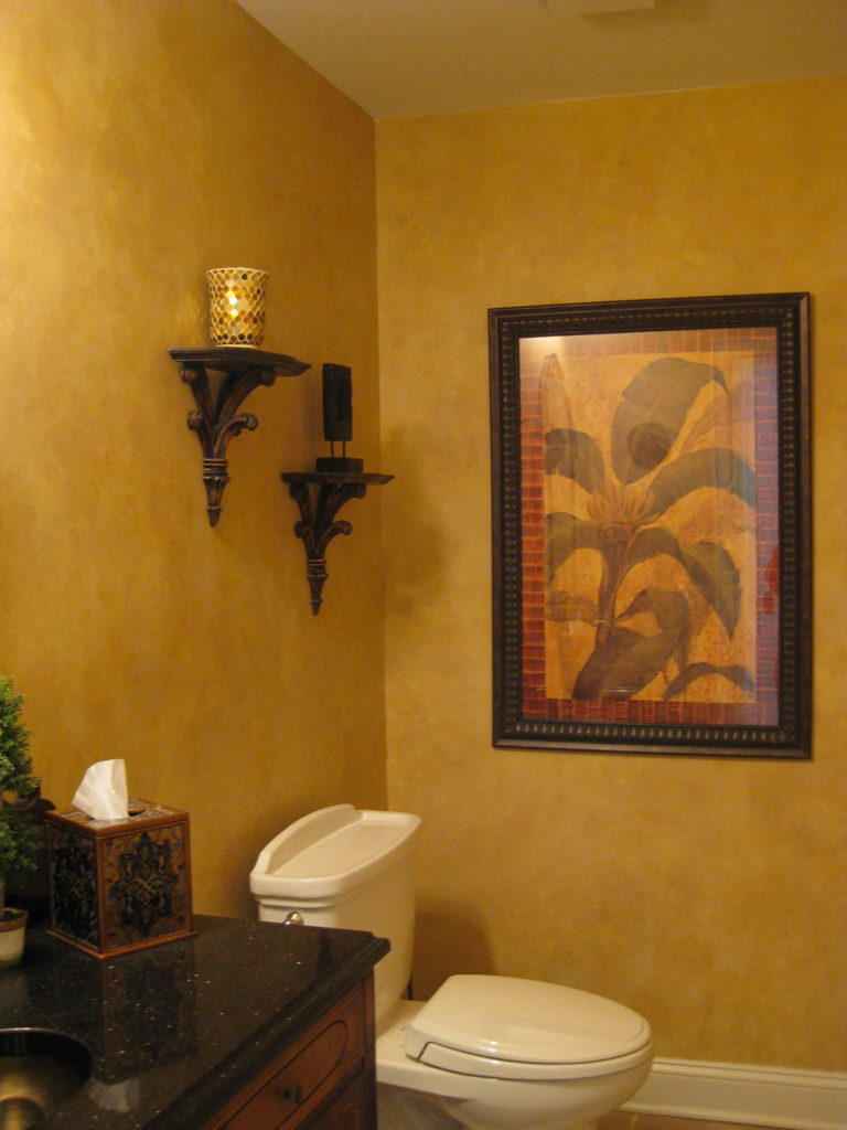 Soft golden color-blended finish painted in Powder Room.