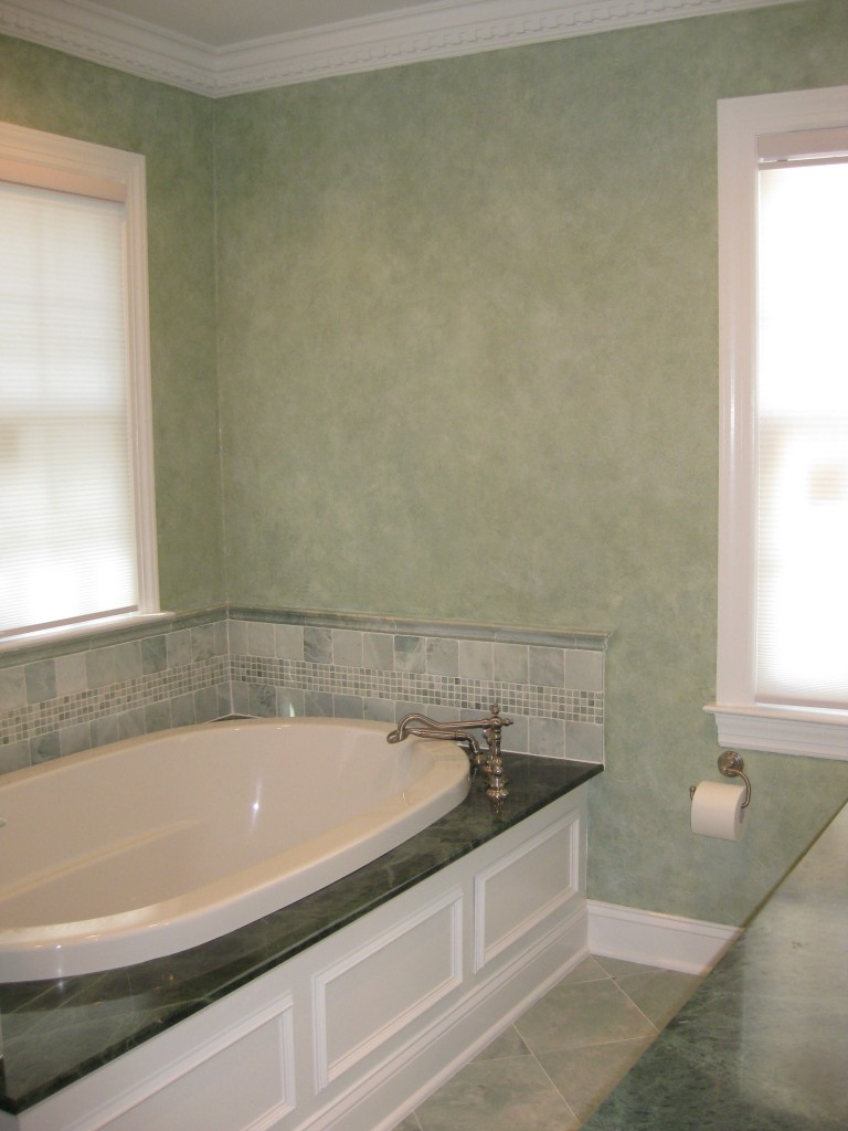 Crinkled tissue treatment and two-color glaze finish in Master Bathroom