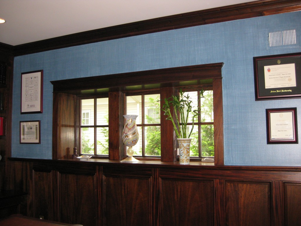 Deep blue linen-weave glaze painted on walls in Home Office.