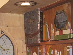 """The """"Monster Book of Monsters"""" is painted onto an electrical sub-panel, located under the stairway."""