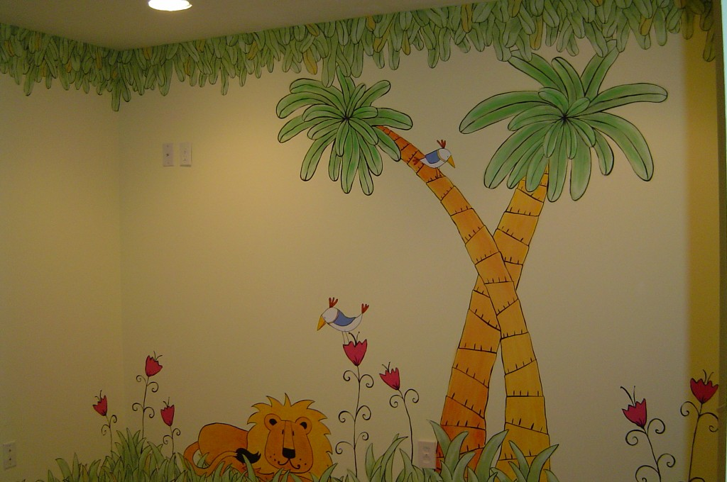 Cartoon-style mural in playroom.