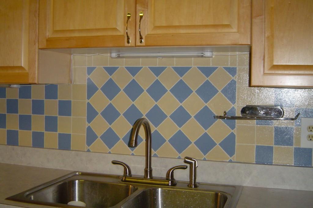 Faux tile painted on Kitchen backsplash.