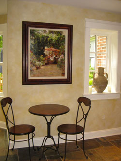 Textured Plaster finish in lower level Family Room with color-wash over all.