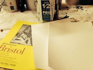 Step 1: Prime sheets of bristol vellum.
