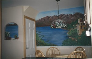 Mural of Italian lakeside scene with additional view from faux window.
