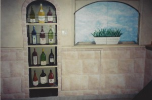Wine cabinet and window painted on a background of stone wall.