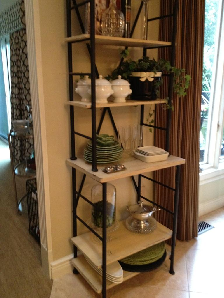 Etagere refinished from English Cherry to a distressed french wash.