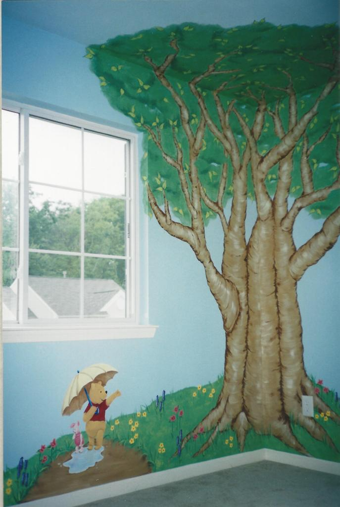 Winnie-the-Pooh themed nursery mural