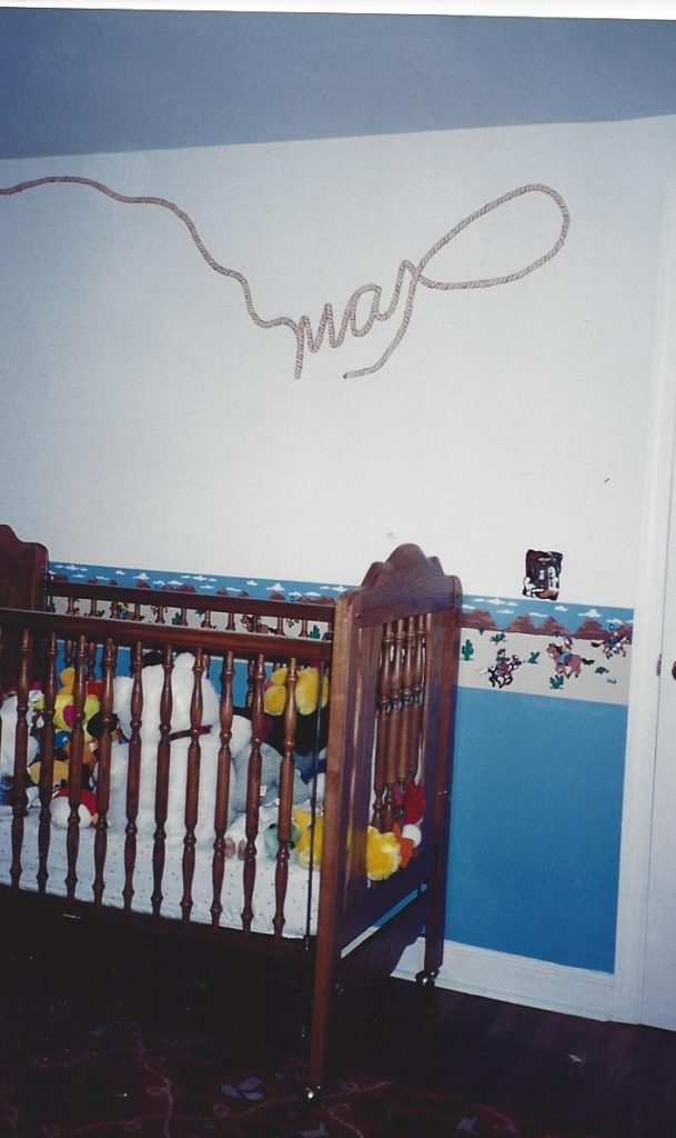 Max's name is spelled out in painted rope in his cowboy-themed bedroom.