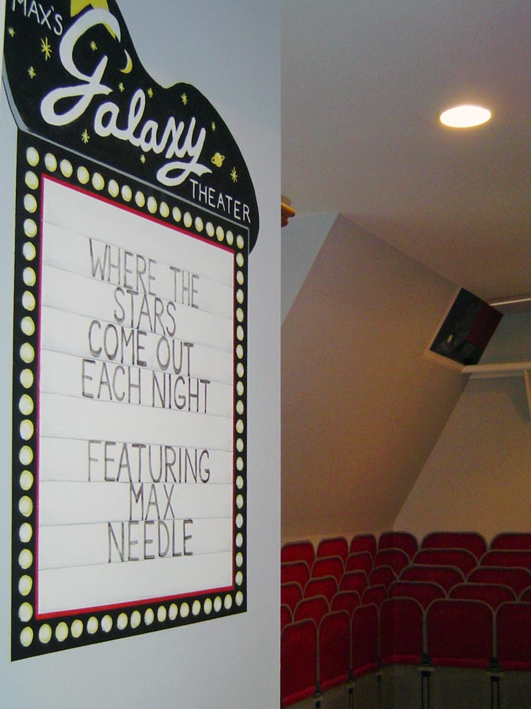 The name is added to the marquee in this movie theater-themed bedroom.