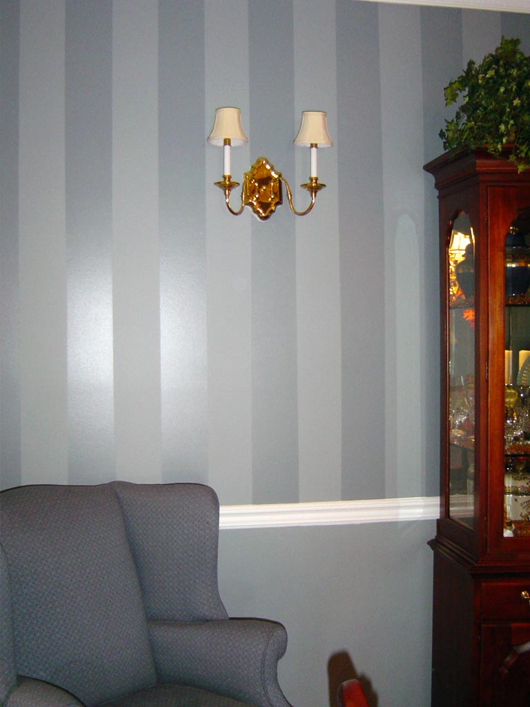 Wedgwood blue shadow stripe painted in dining room.