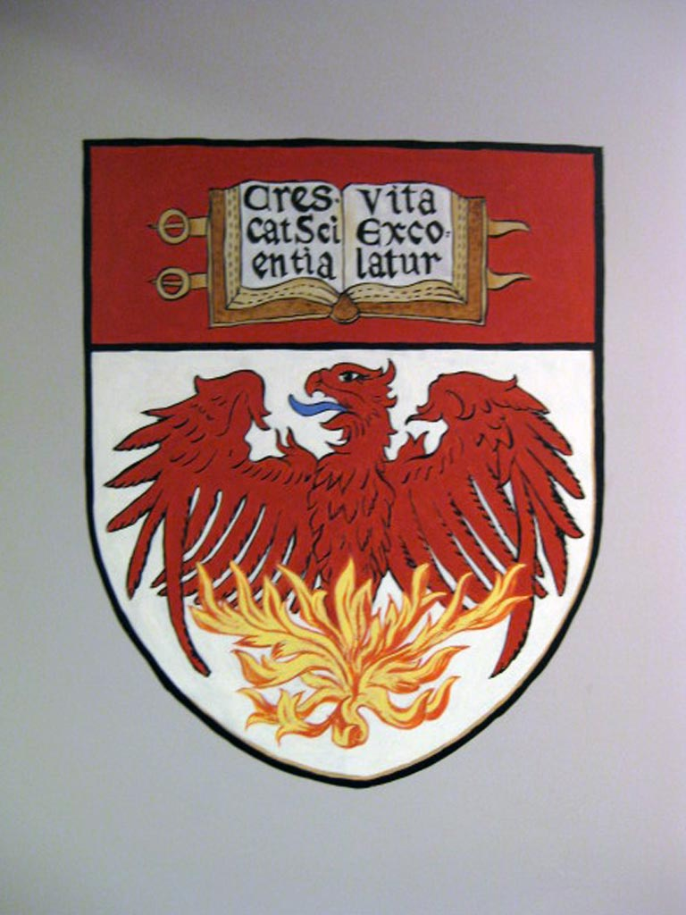 University of Chicago crest painted in game room.