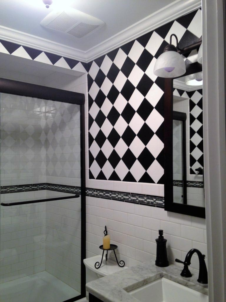 Diagonal black and white checkerboard pattern.