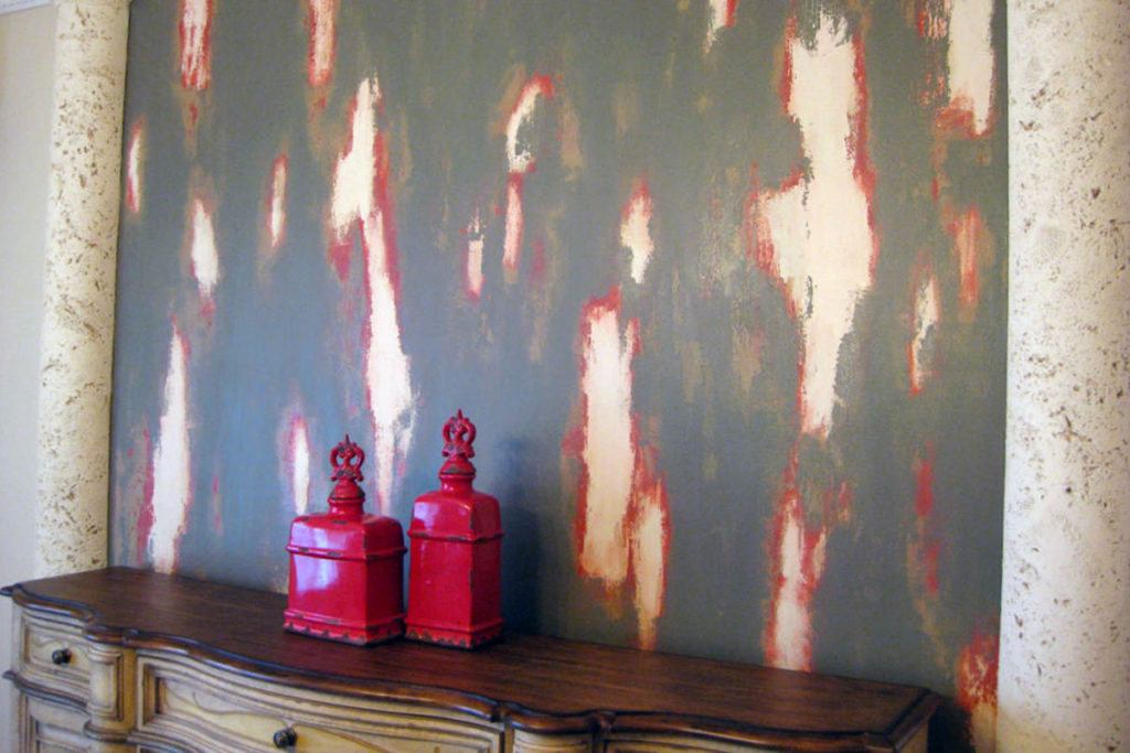 Four-color distressed rub-through finish painted in Dining Room.